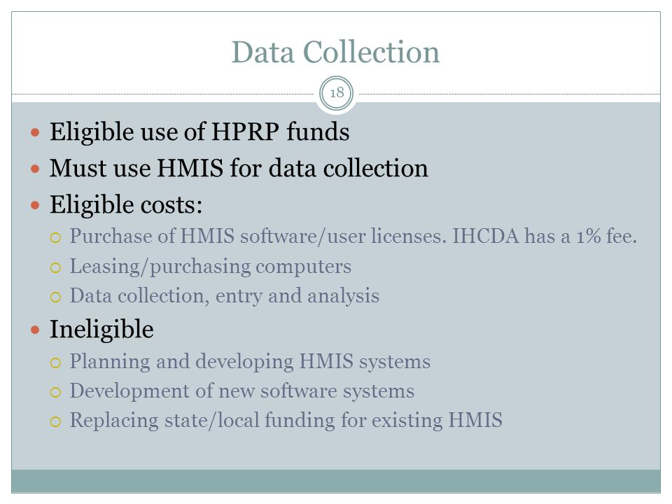 Data Collection Eligible use of HPRP funds