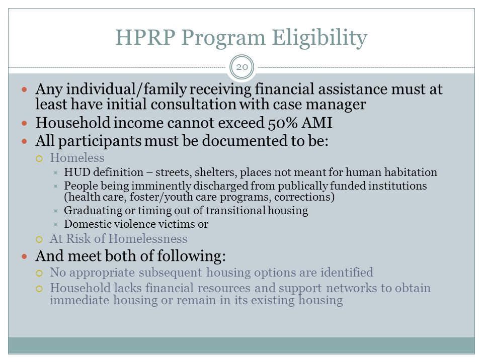 HPRP Program Eligibility