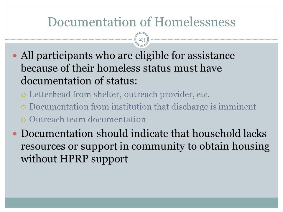 Documentation of Homelessness