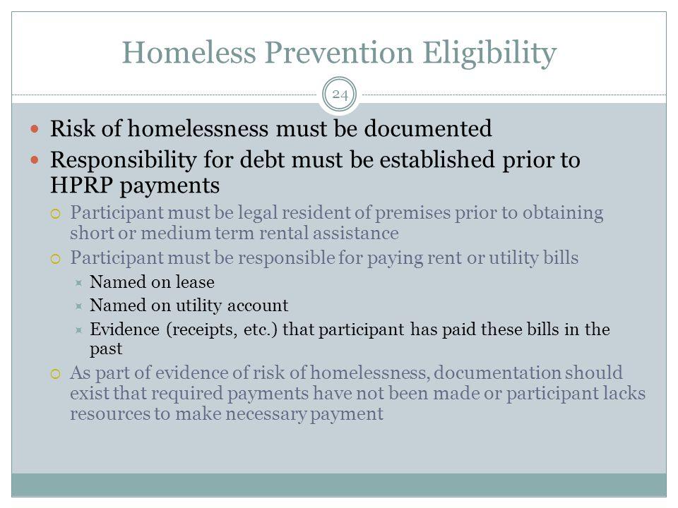 Homeless Prevention Eligibility