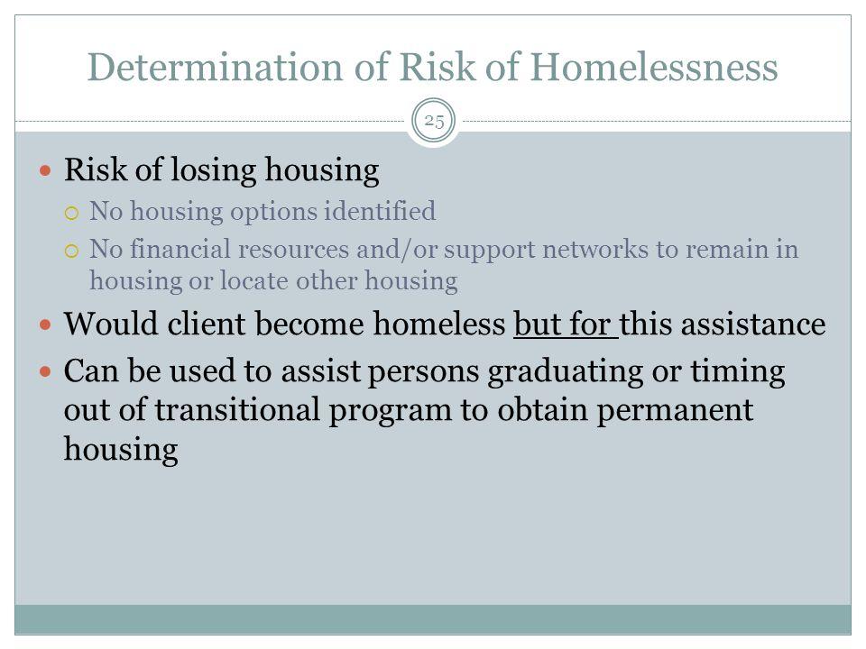 Determination of Risk of Homelessness