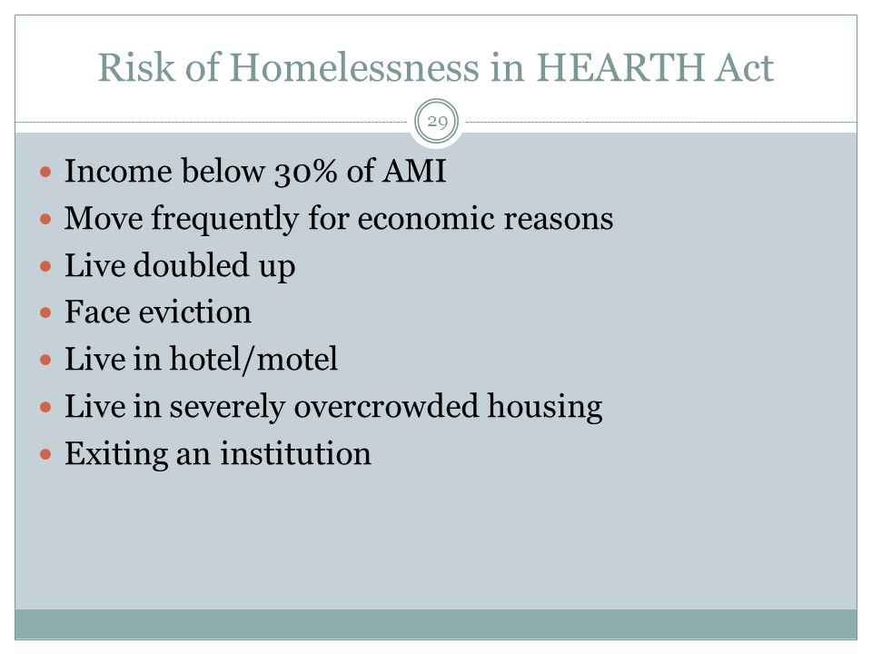 Risk of Homelessness in HEARTH Act