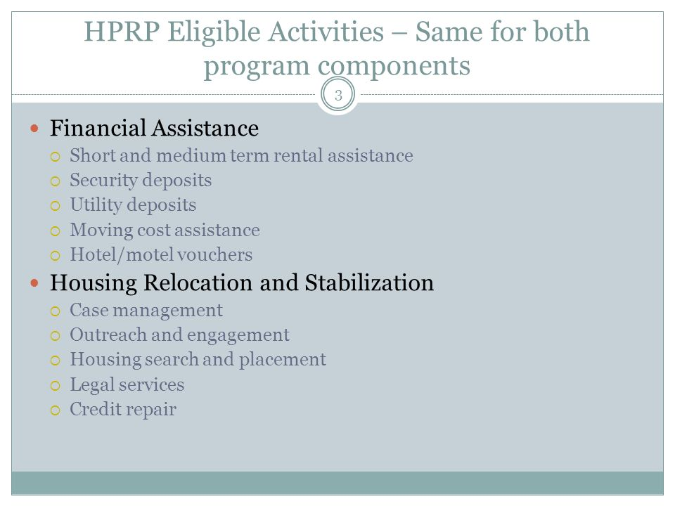 HPRP Eligible Activities – Same for both program components