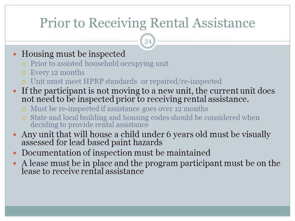 Prior to Receiving Rental Assistance