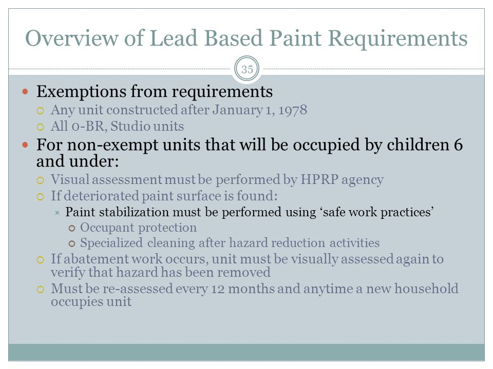 Overview of Lead Based Paint Requirements