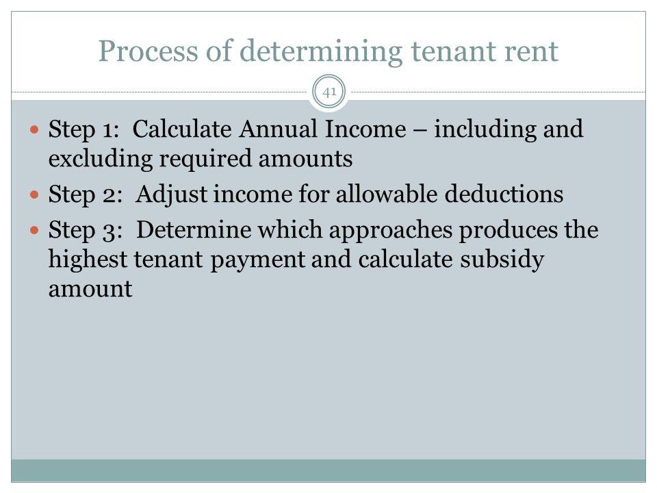 Process of determining tenant rent