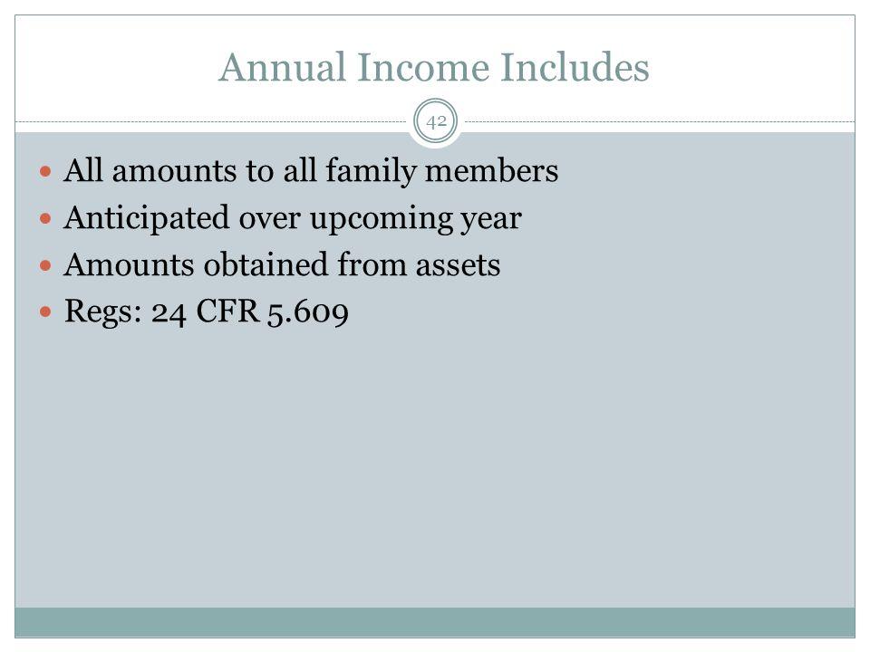 Annual Income Includes