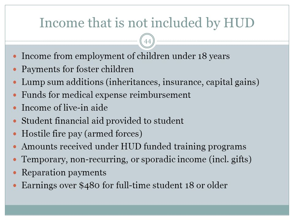 Income that is not included by HUD