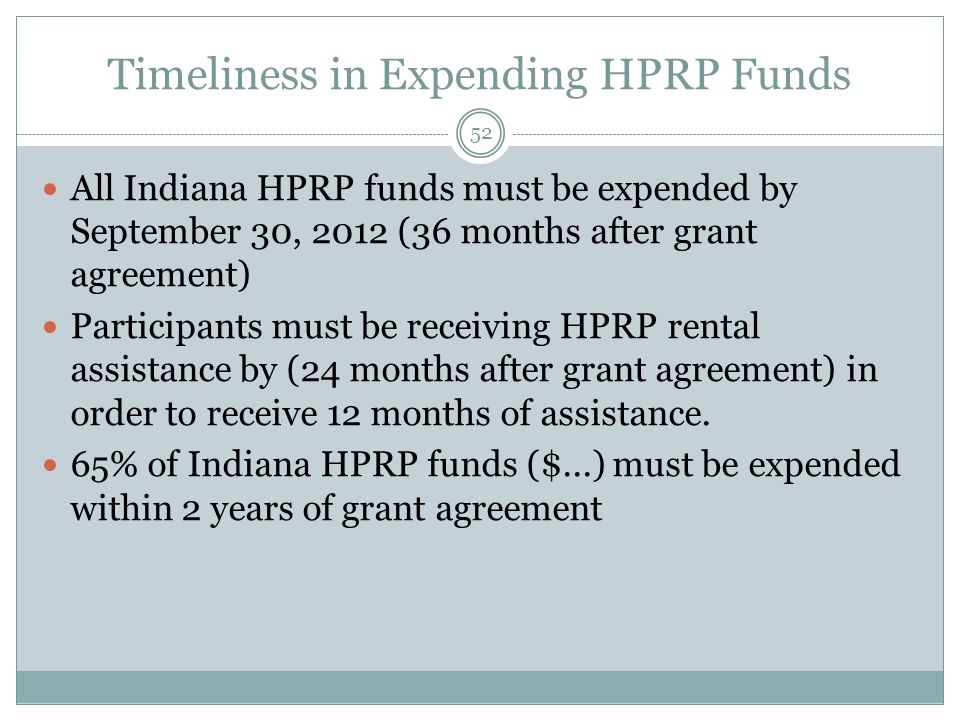 Timeliness in Expending HPRP Funds