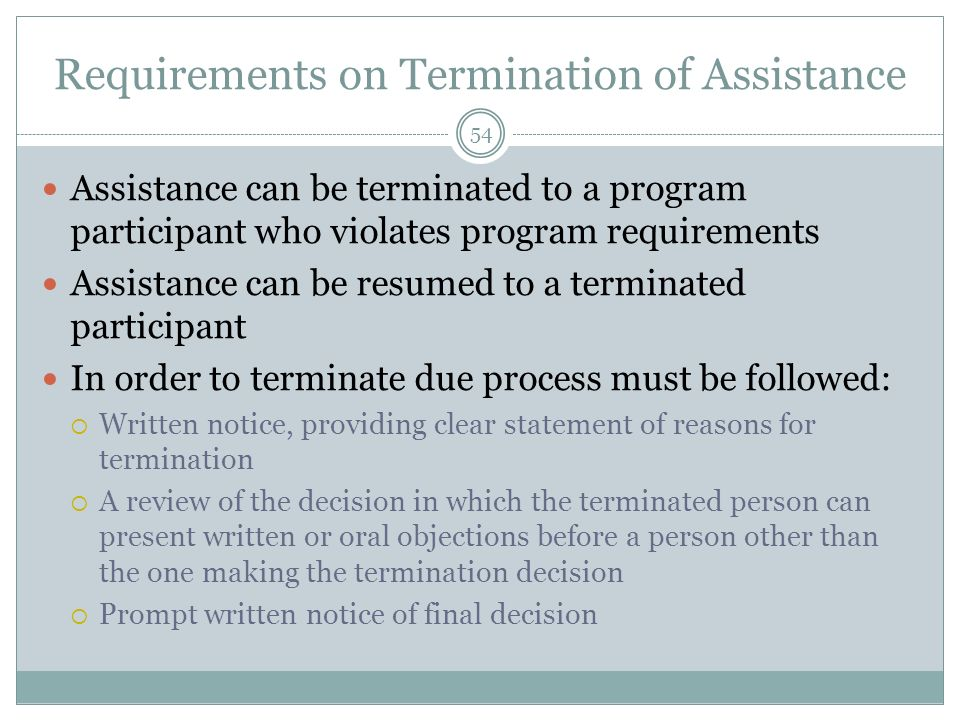 Requirements on Termination of Assistance