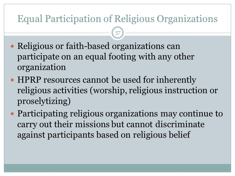 Equal Participation of Religious Organizations