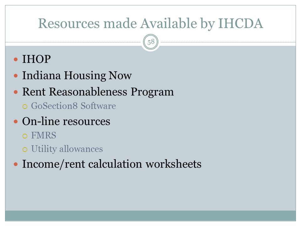 Resources made Available by IHCDA
