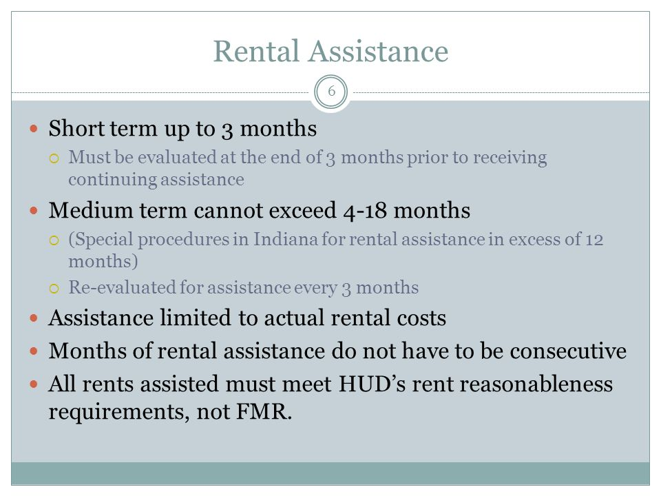 Rental Assistance Short term up to 3 months