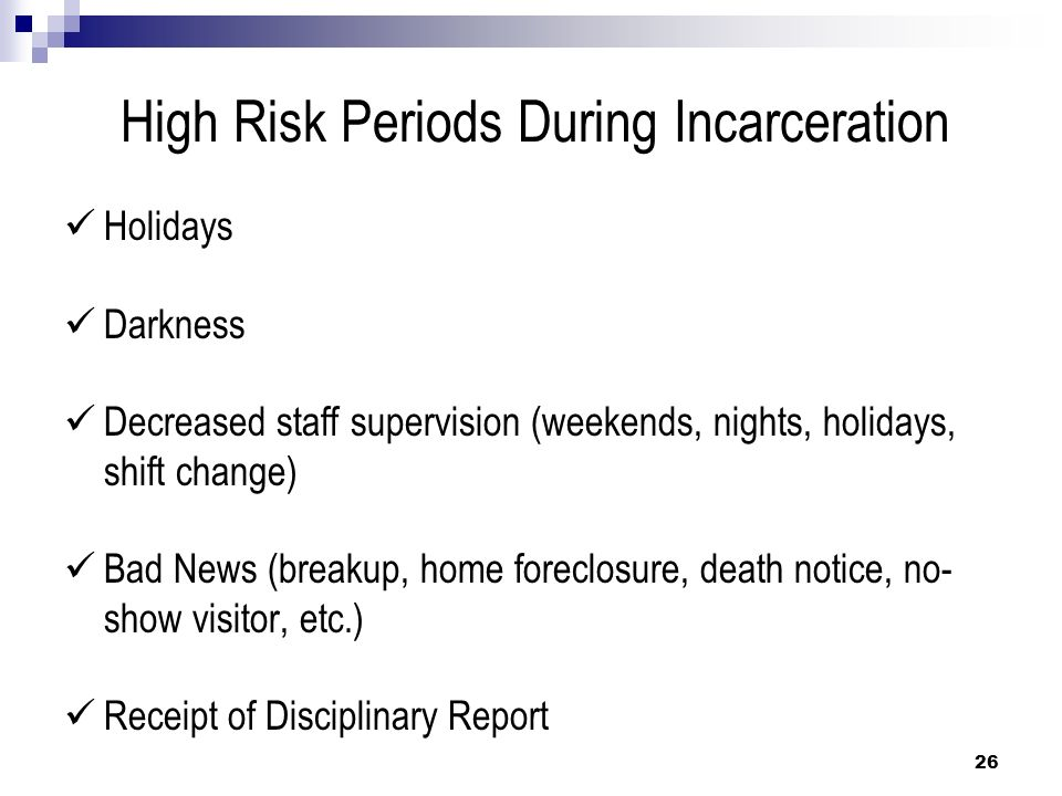 High Risk Periods During Incarceration
