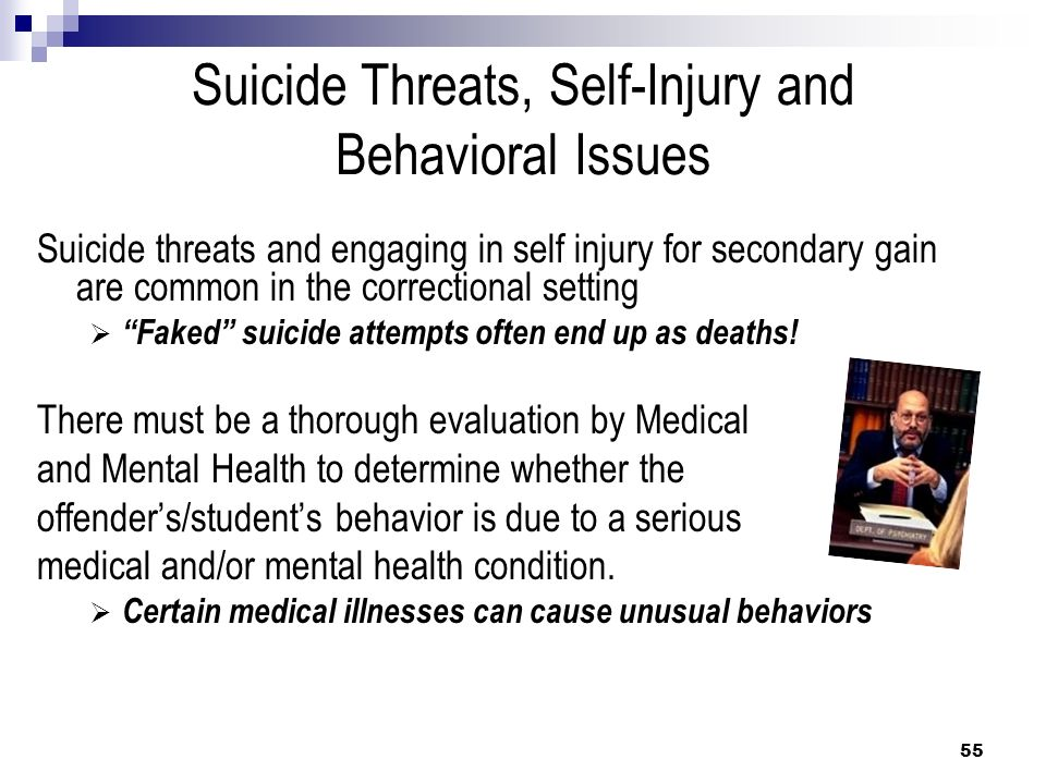 Suicide Threats, Self-Injury and Behavioral Issues