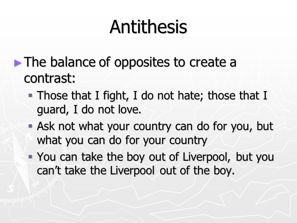 antithesis ask not what your country Antithesis - using contrasting ideas to balance a phrase ex ask not what your country can do for you what is parallelism and antithesis.