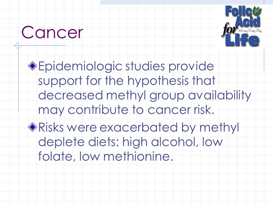 Cancer Epidemiologic studies provide support for the hypothesis that decreased methyl group availability may contribute to cancer risk.