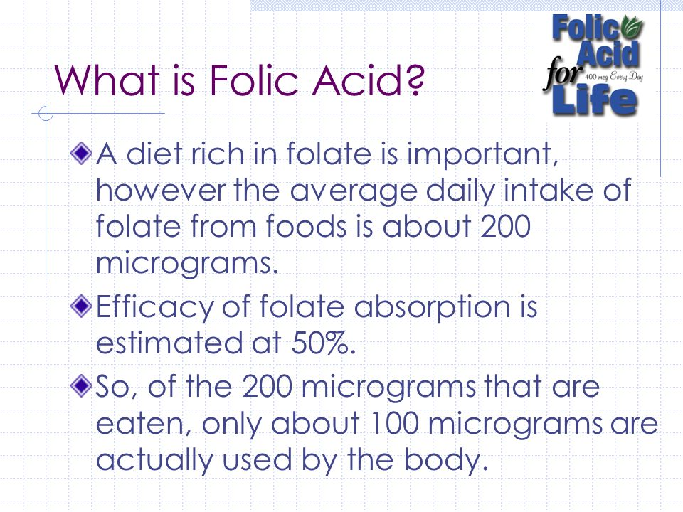 What is Folic Acid A diet rich in folate is important, however the average daily intake of folate from foods is about 200 micrograms.
