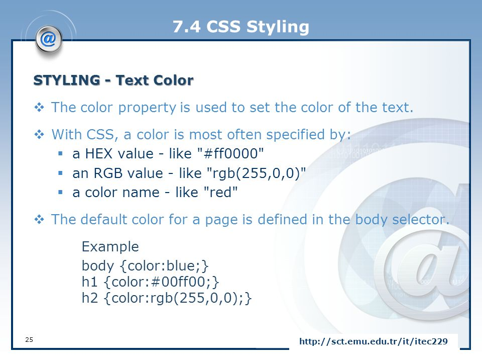 set text color in css