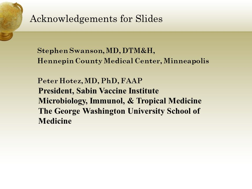 Acknowledgements for Slides