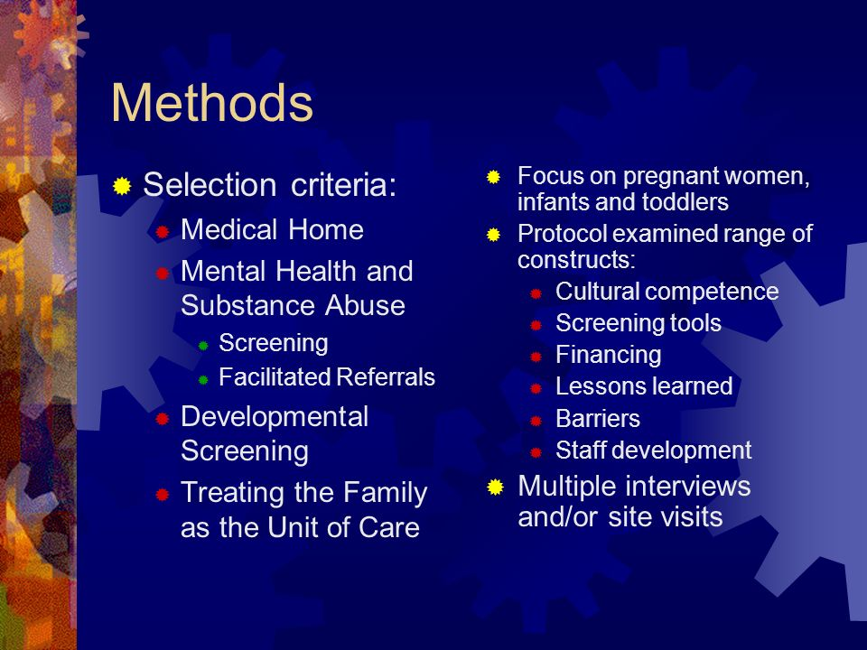 Methods Selection criteria: Medical Home
