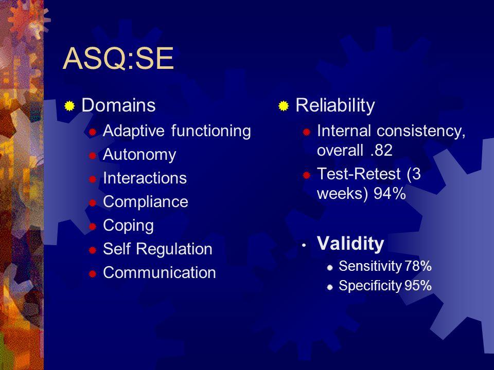 ASQ:SE Domains Reliability Validity Adaptive functioning Autonomy