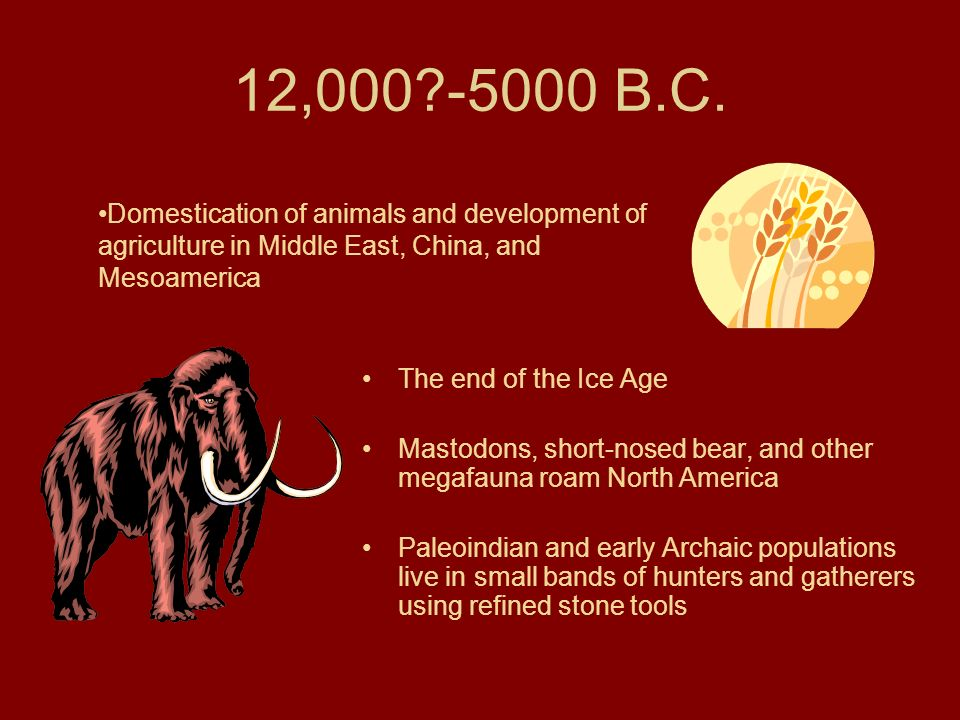 12, B.C. Domestication of animals and development of agriculture in Middle East, China, and Mesoamerica.