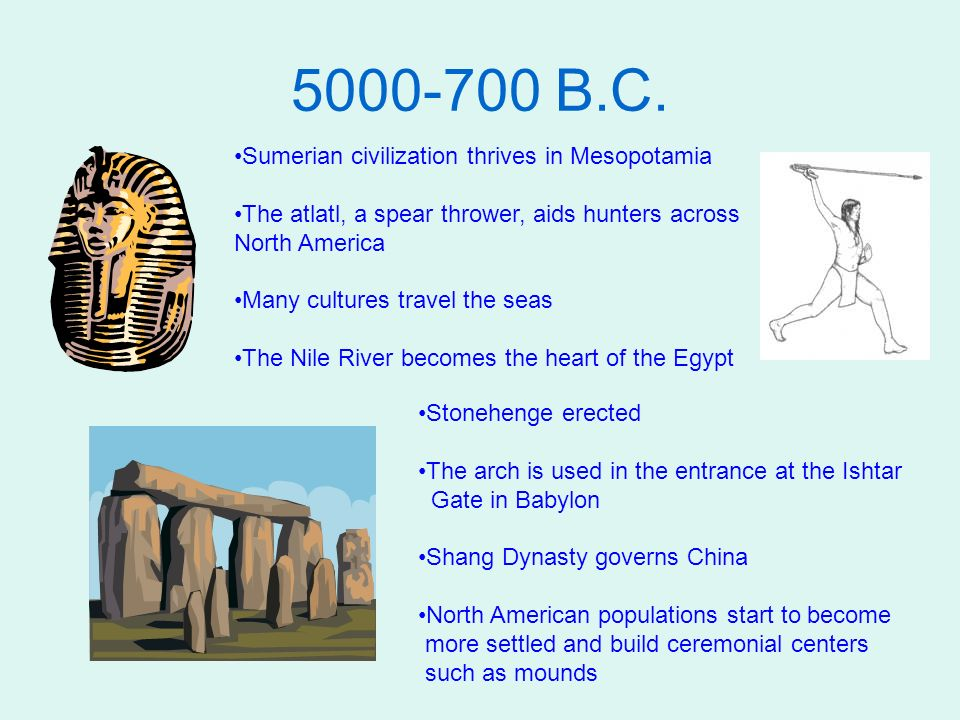 5000-700 B.C. Sumerian civilization thrives in Mesopotamia