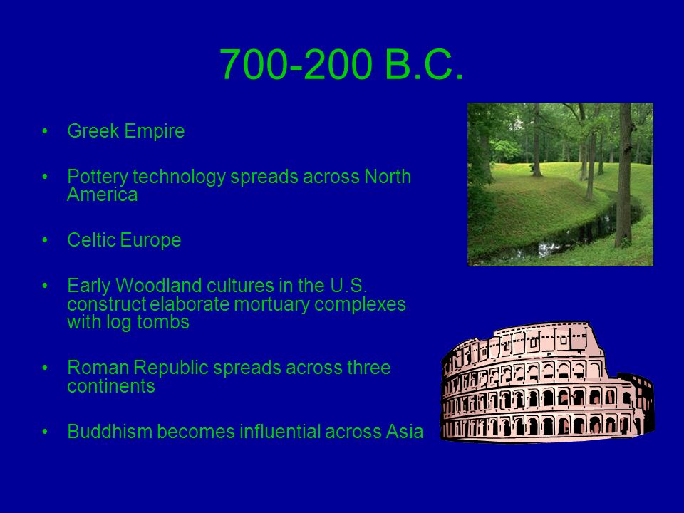 B.C. Greek Empire. Pottery technology spreads across North America. Celtic Europe.