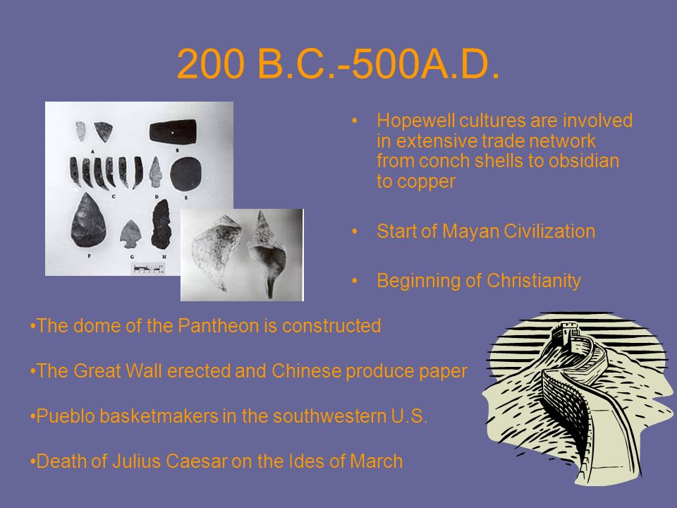 200 B.C.-500A.D. Hopewell cultures are involved in extensive trade network from conch shells to obsidian to copper.