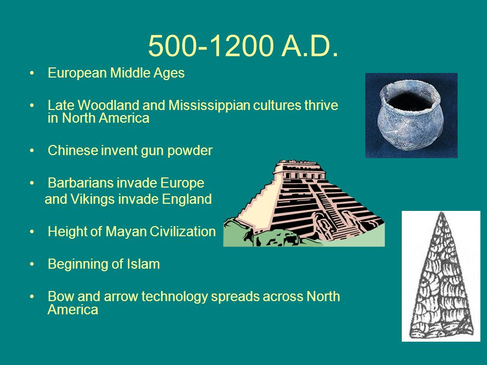 500-1200 A.D. European Middle Ages