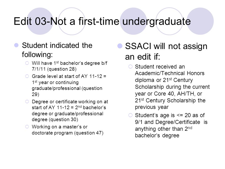 Edit 03-Not a first-time undergraduate