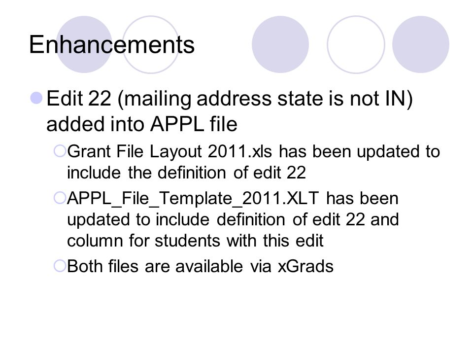 Enhancements Edit 22 (mailing address state is not IN) added into APPL file.