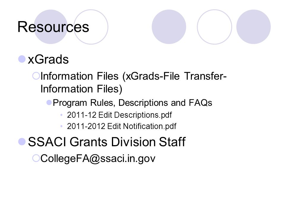 Resources xGrads SSACI Grants Division Staff
