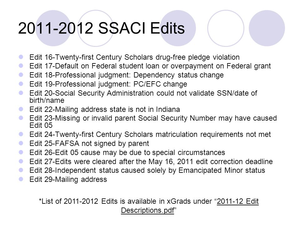 2011-2012 SSACI Edits Edit 16-Twenty-first Century Scholars drug-free pledge violation.
