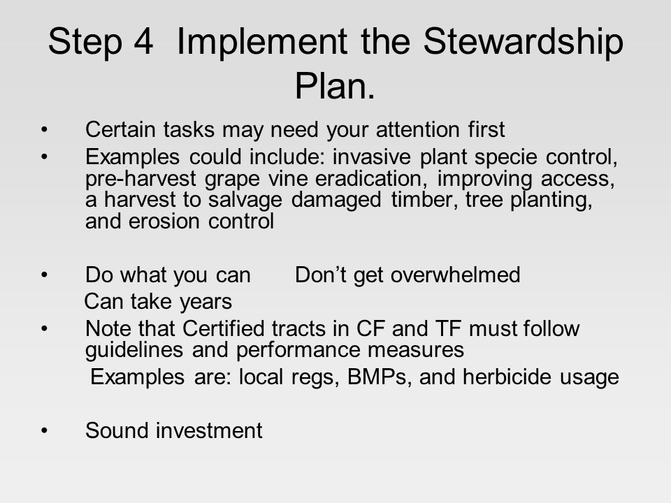 Step 4 Implement the Stewardship Plan.
