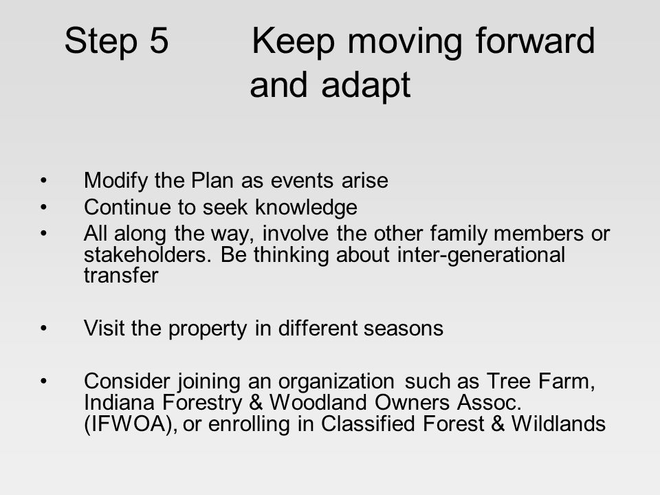 Step 5 Keep moving forward and adapt