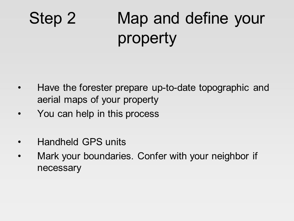 Step 2 Map and define your property