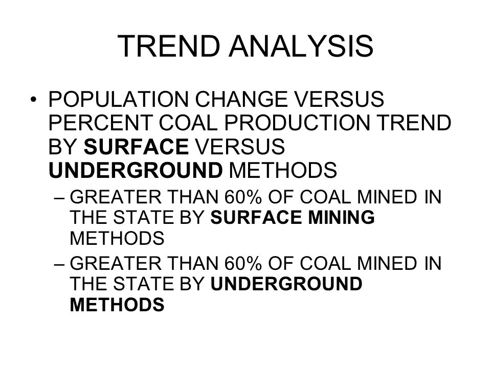 TREND ANALYSIS POPULATION CHANGE VERSUS PERCENT COAL PRODUCTION TREND BY SURFACE VERSUS UNDERGROUND METHODS.