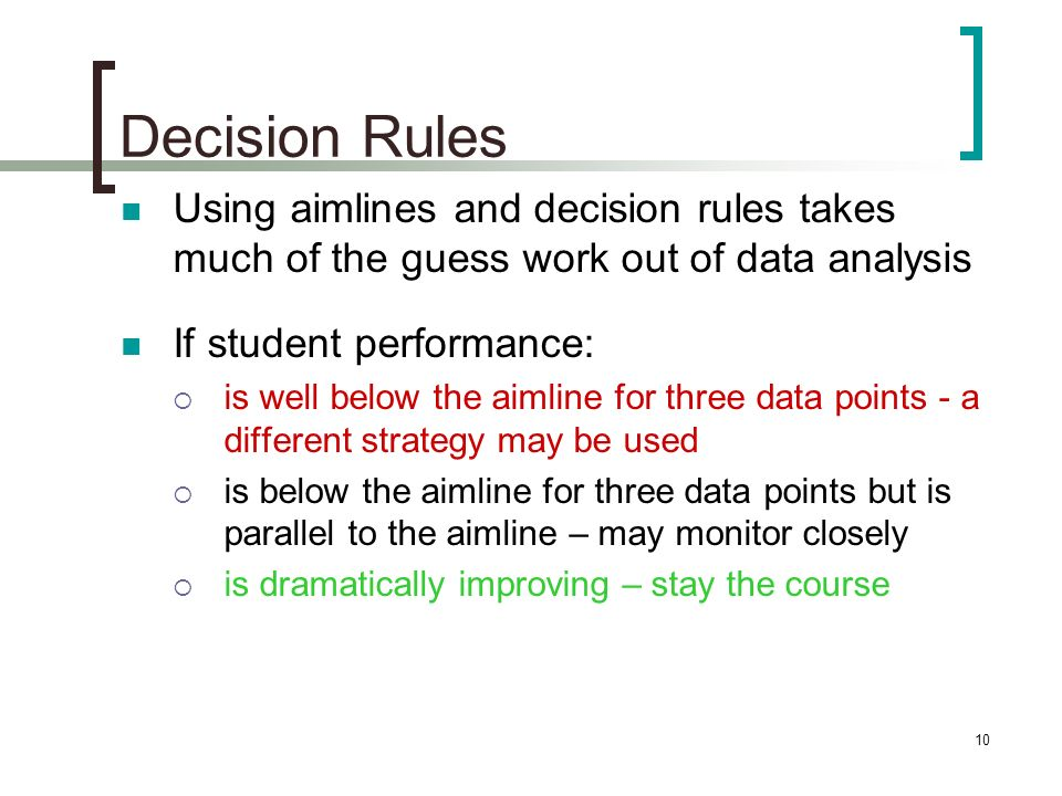 Decision Rules Using aimlines and decision rules takes much of the guess work out of data analysis.