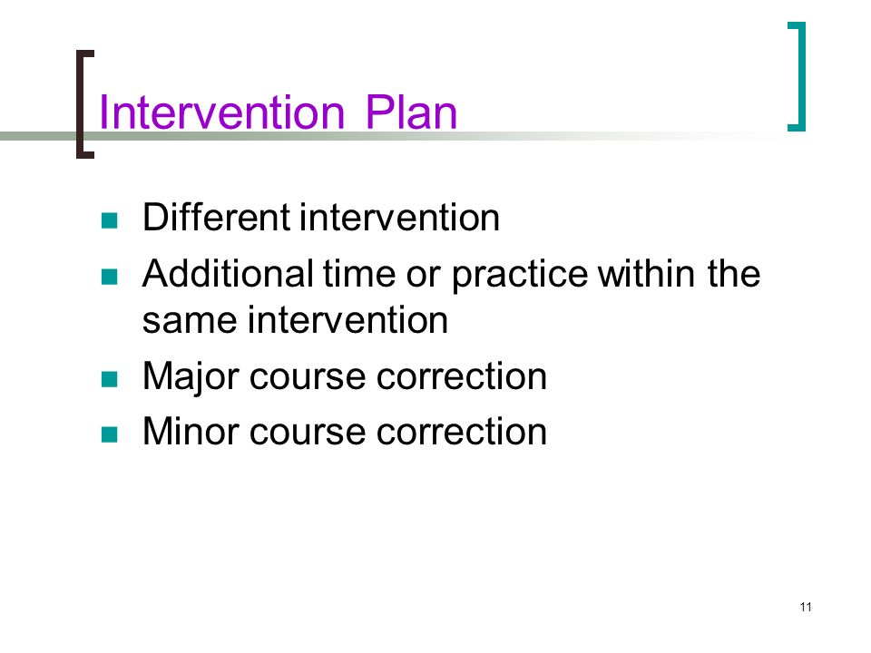 Intervention Plan Different intervention
