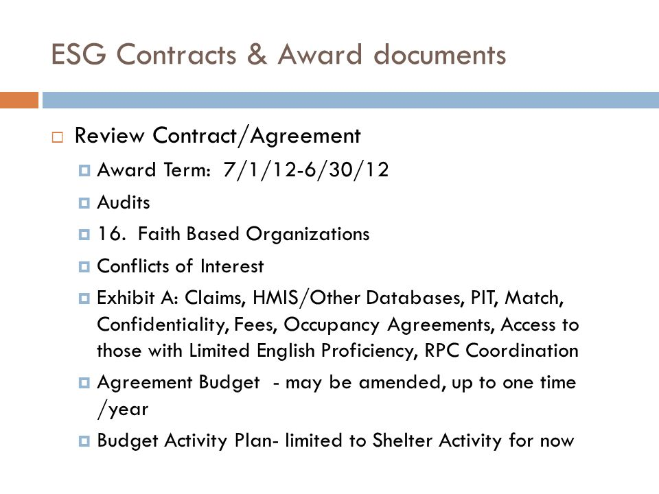 ESG Contracts & Award documents