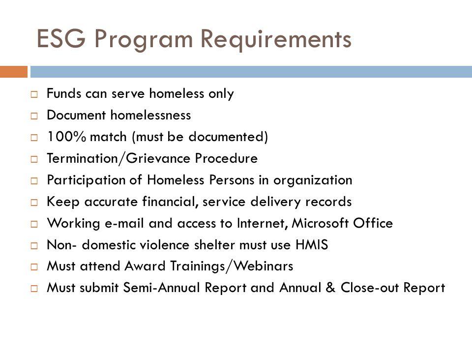ESG Program Requirements