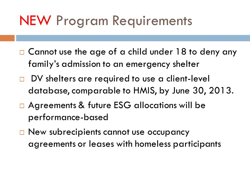 NEW Program Requirements