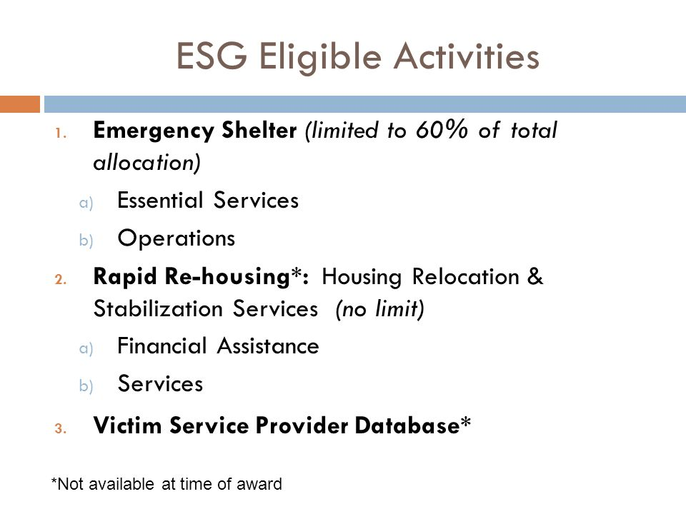 ESG Eligible Activities