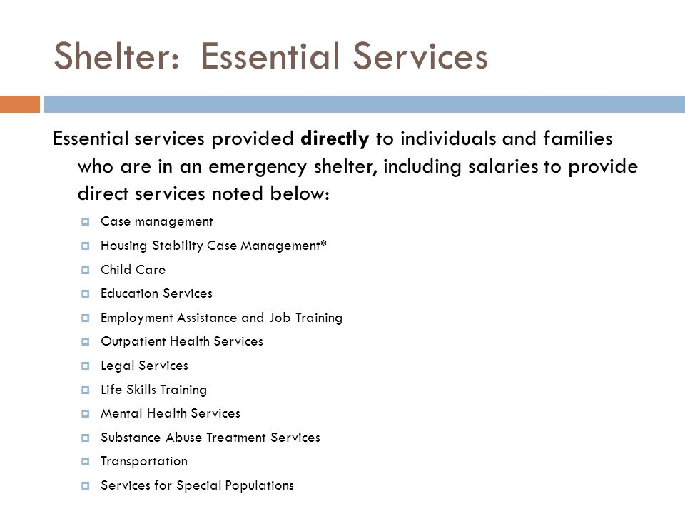 Shelter: Essential Services