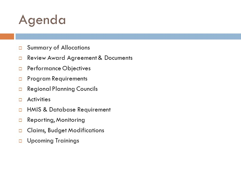 Agenda Summary of Allocations Review Award Agreement & Documents