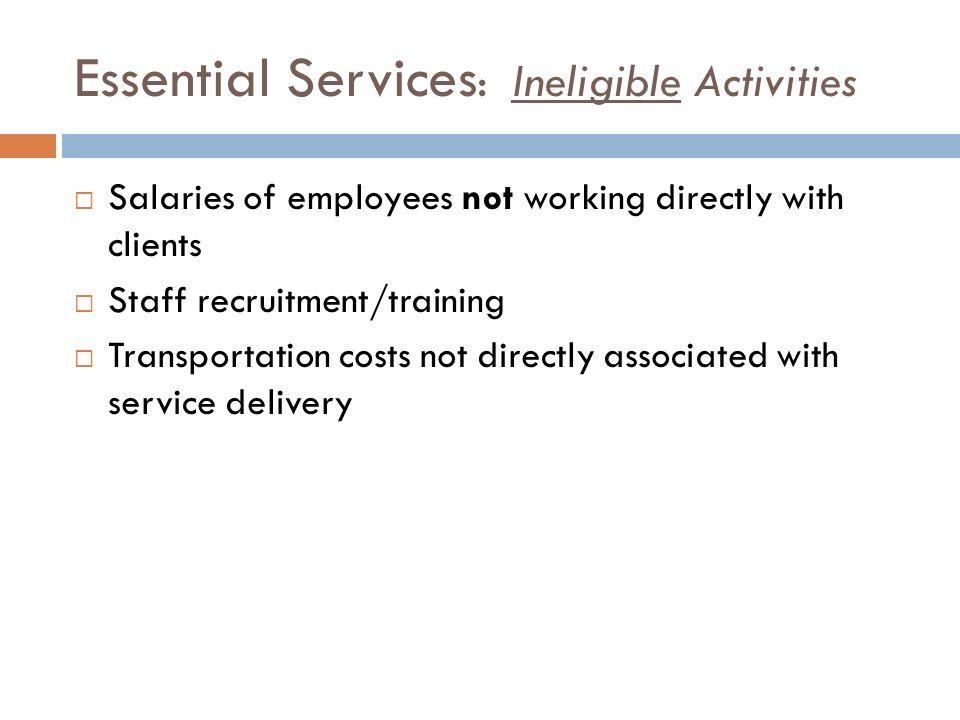 Essential Services: Ineligible Activities