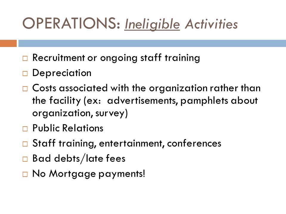 OPERATIONS: Ineligible Activities