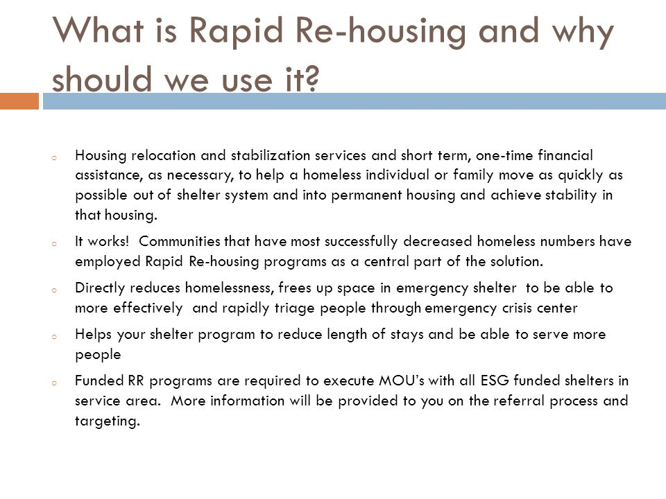 What is Rapid Re-housing and why should we use it